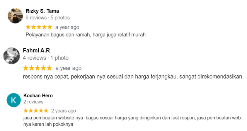 Google Reviews Karya Web Studio