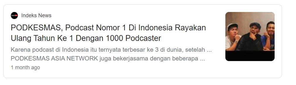 Podkesmas menjadi podcast peringkat 1 di Indonesia