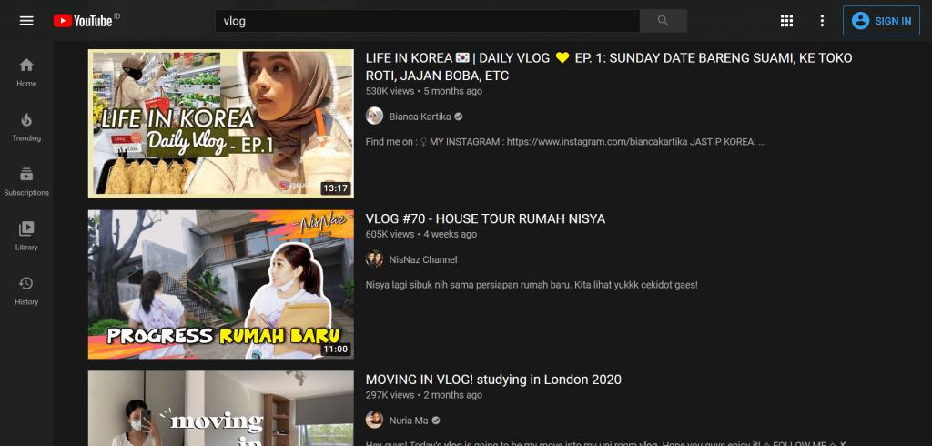 Platform YouTube untuk vlogging