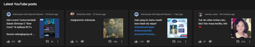 Fitur community pada YouTube