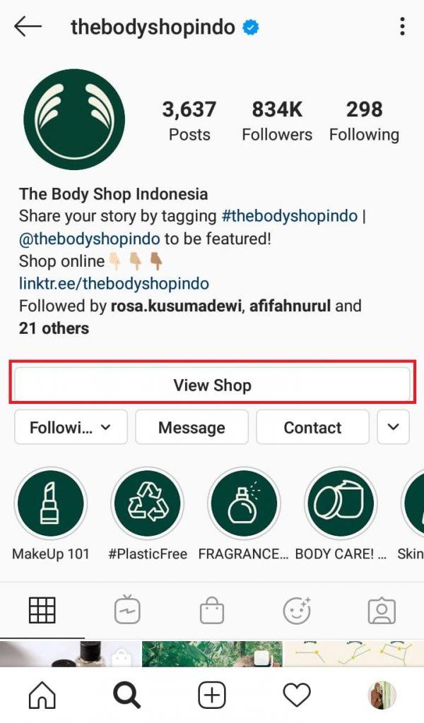 tampilan instagram shopping
