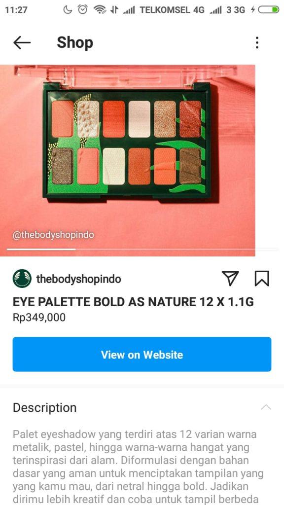 halaman detail produk instagram shopping