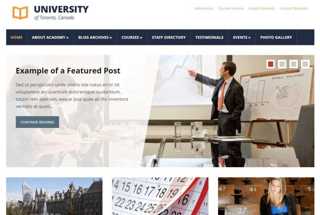 tampilan bersih dan universal website sekolah dengan tema lectura