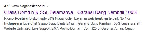 teks iklan google adwords niagahoster
