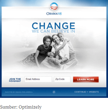 A/B testing landing page kampanye Obama