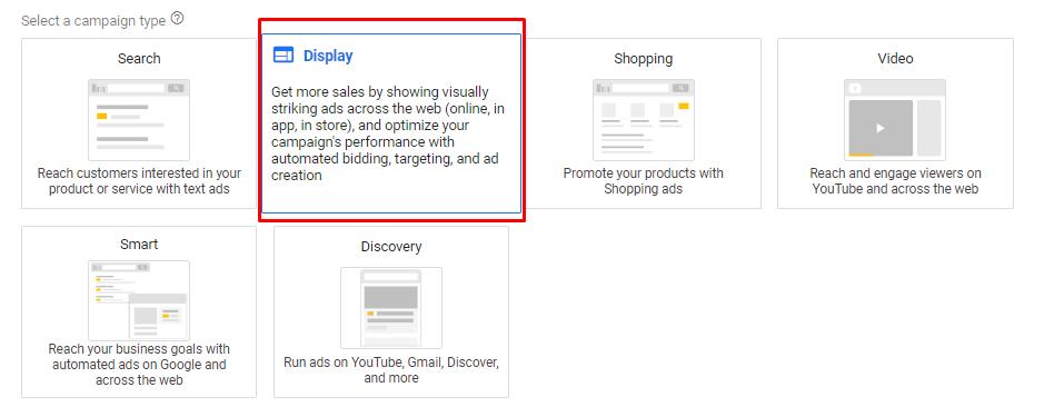 Memilih tipe google ads display network