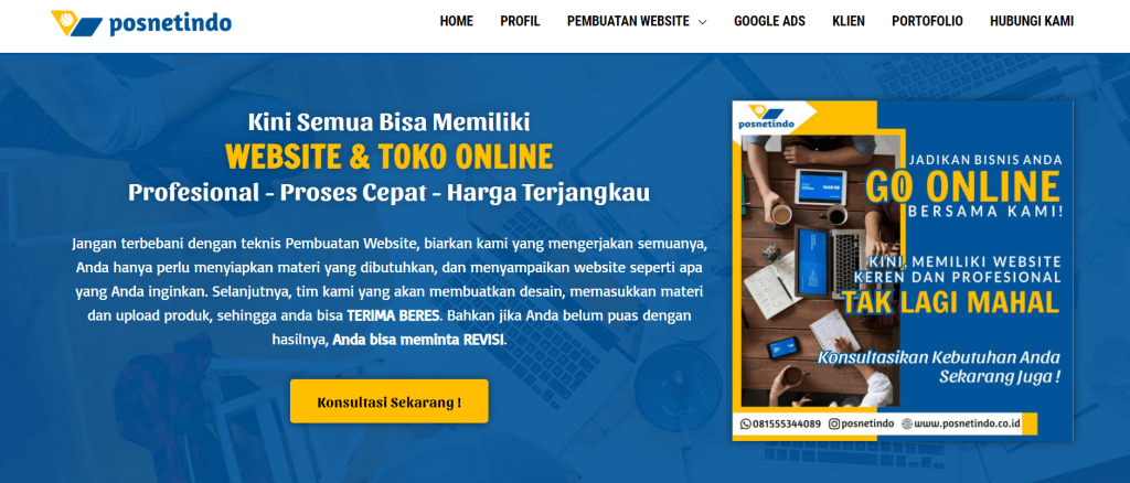 Halaman Depan Perusahaan Website Posnetindo