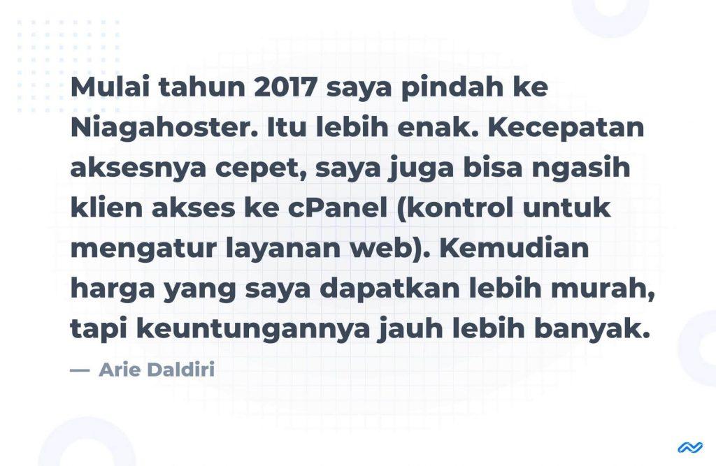 Testimoni Arie Daldiri (founder Posnetindo) setelah bergabung dengan Niagahoster Partner