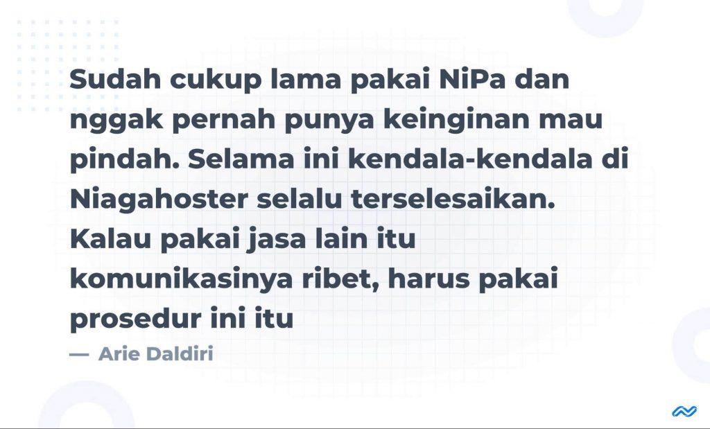 Pendapat Arie Daldiri Mengenai Niagahoster Partner