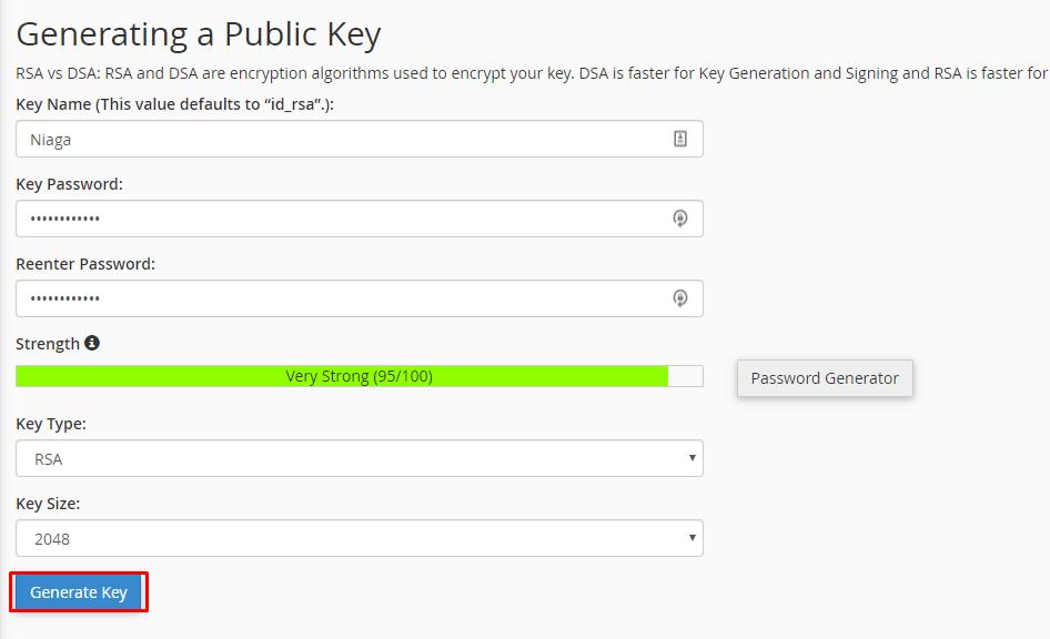 Generate Key untuk mendapatkan Public Key sebagai cara menggunakan SFTP di cPanel