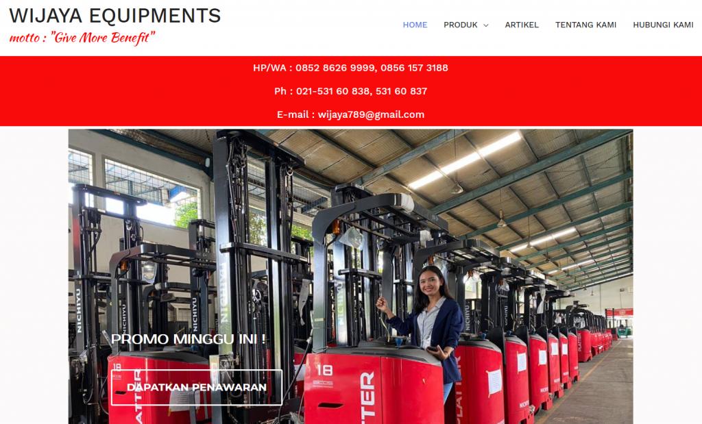 halaman utama website wijaya equipments yang menggunakan cloud hosting