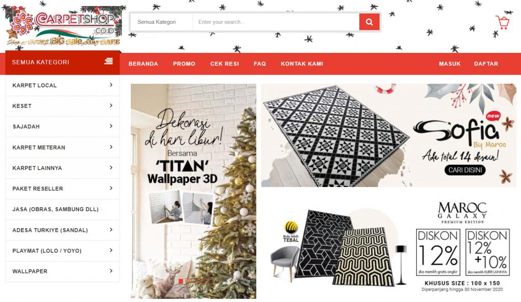 halaman utama website carpet shop