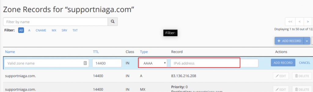 Tampilan Member Area yang menunjukkan Niagahoster sudah support IPv6