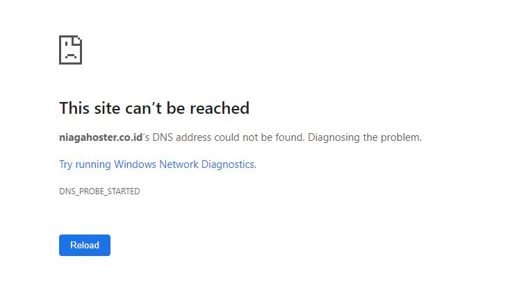 Notifikasi website tidak bisa diakses