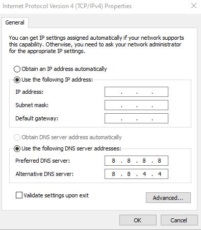 Ganti pakai DNS Google