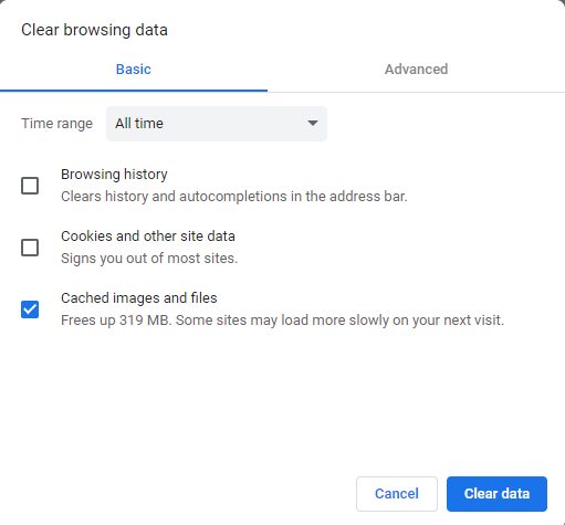 Hapus cache browser untuk mengatasi website tidak bisa diakses