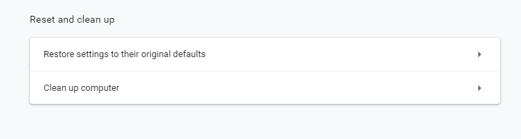 Restore defaults settins Google Chrome