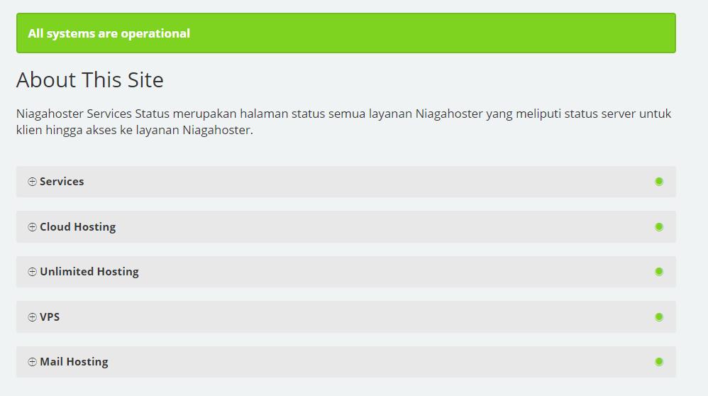 Mengecek status server Niagahoster