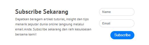 Contoh penggunaan form subscribe Niagahoster untuk mencegah email masuk ke spam