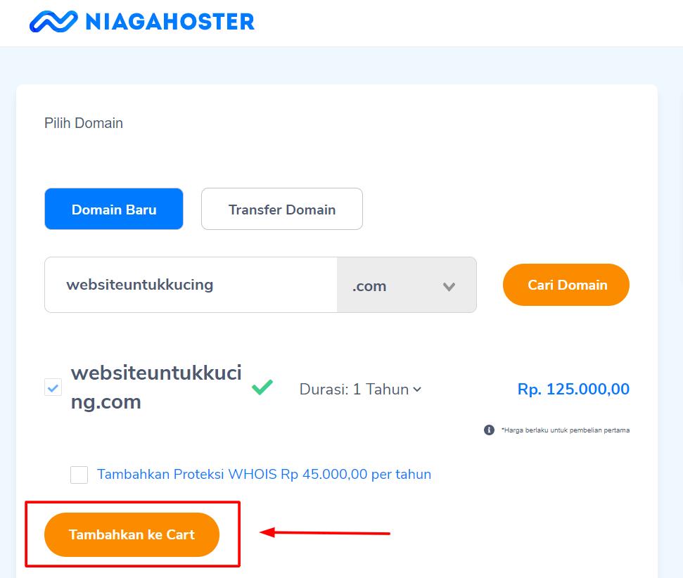 cara daftar domain di Niagahoster langkah kedua