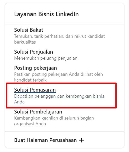 pilihan beriklan di layanan bisnis LinkedIn