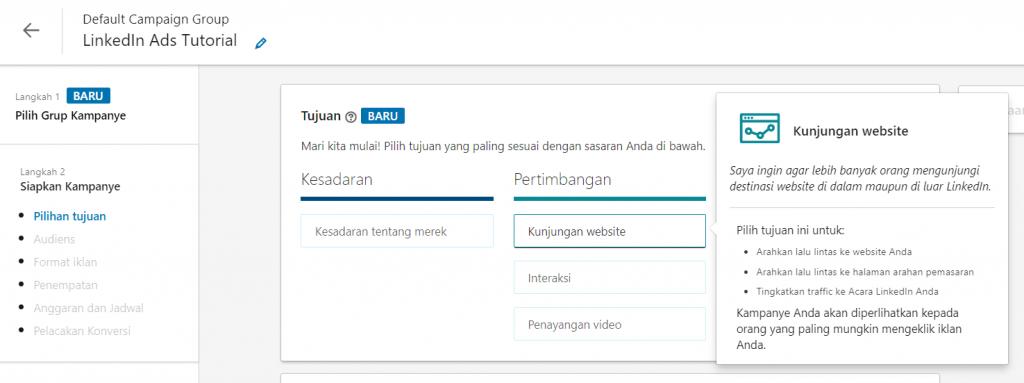 contoh LinkedIn Ads dengan tujuan meningkatkan kunjungan website
