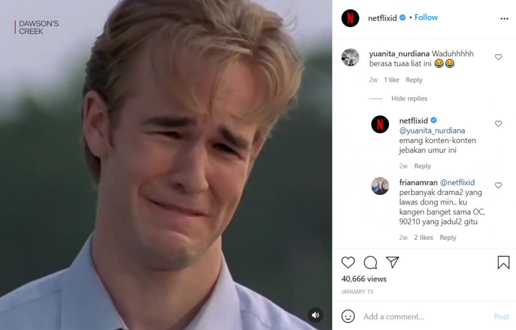 meraih pasar milenial dengan interaksi komentar di akun instagram netflix