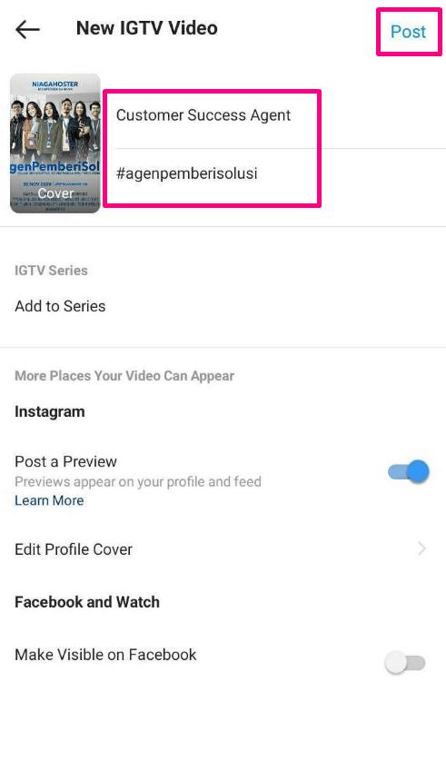 posting IGTV lengkap dengan judul video, hashtag, dan deskripsi