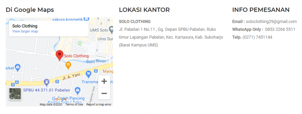 Alamat dan lokasi Google Maps Solo Clothing