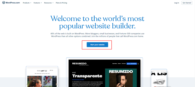 Halaman depan WordPress.com untuk mendapatkan hosting WordPress gratis
