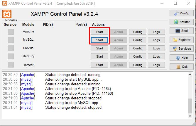 Tampilan pengaturan aplikasi XAMPP