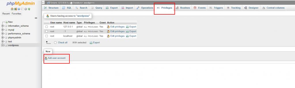 Membuat User Account di phpMyAdmin