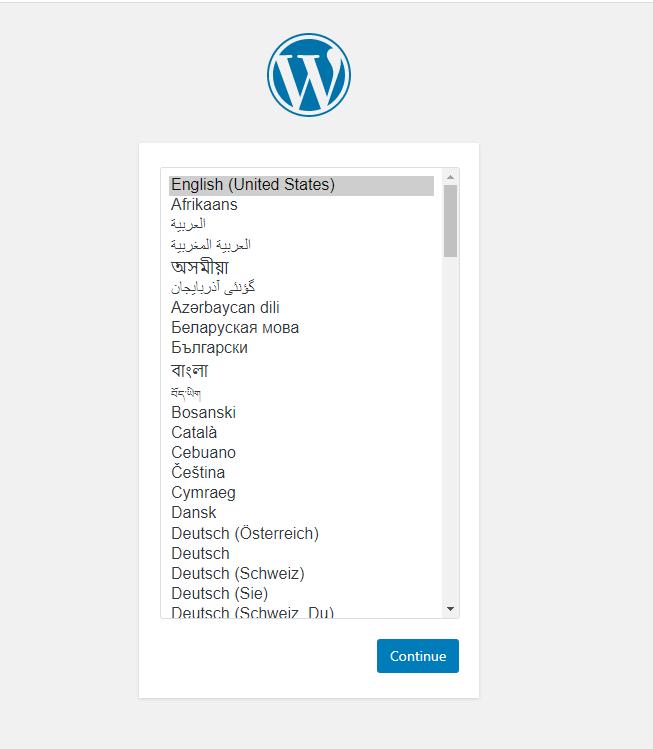 Tampilan instalasi WordPress awal