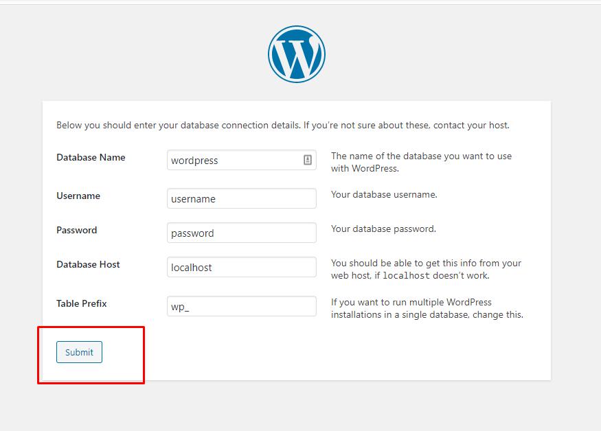 Mengisi data diri pada website WordPress yang akan dibuat