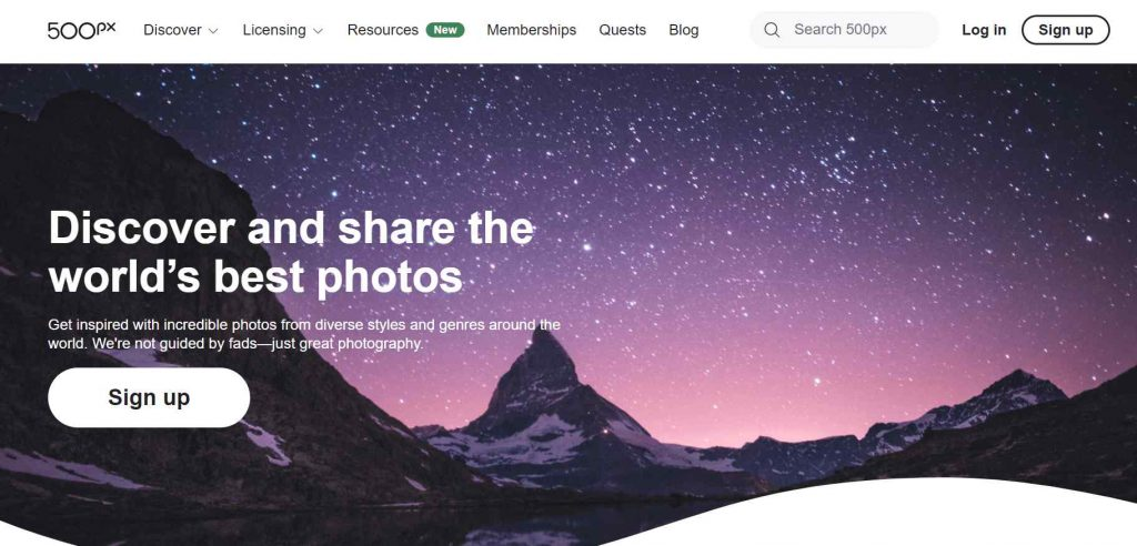 500px tempat jualan foto online