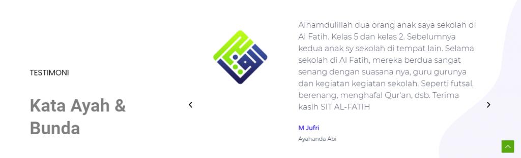 Testimoni orang tua murid SIT Al Fatih