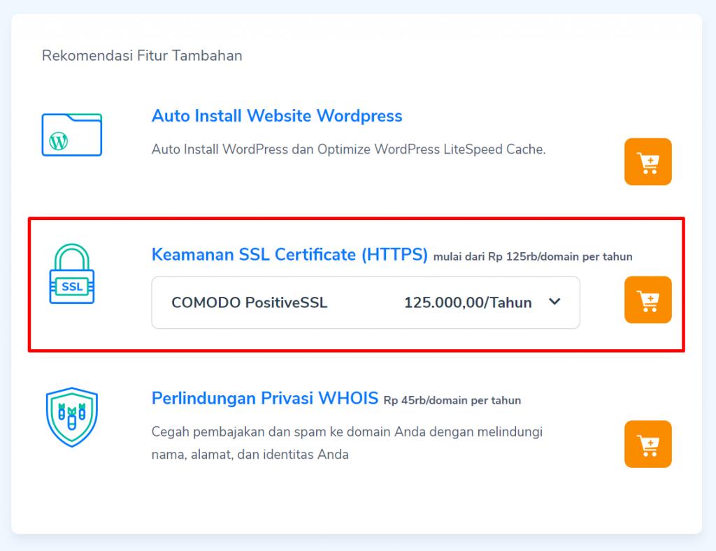 order comodo ssl saat checkout hosting