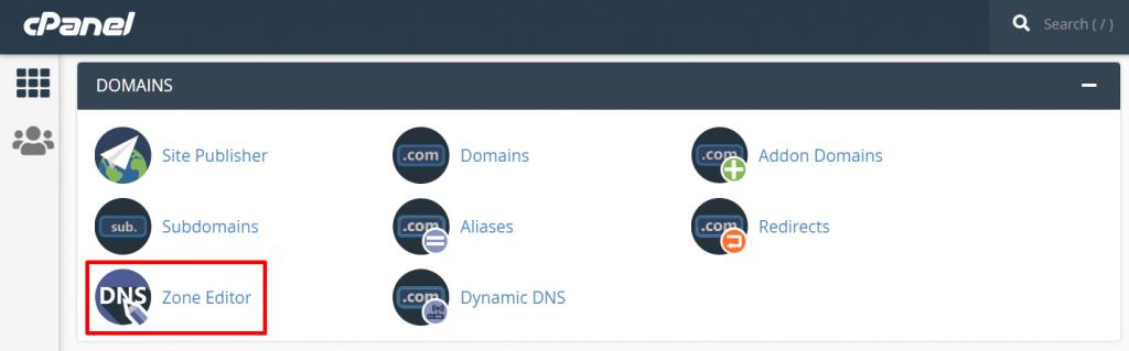 setting dns domain di zone editor cpanel