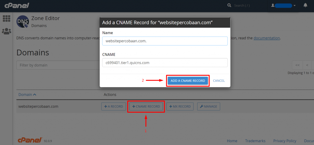 cara setting dns domain ke cname quic cloud di cpanel