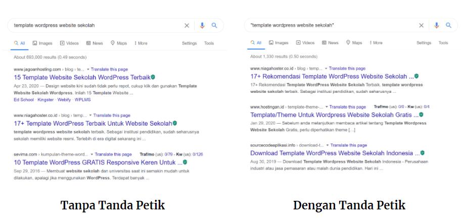 Perbandingan hasil pencarian dengan dan tanpa Trik Google Search