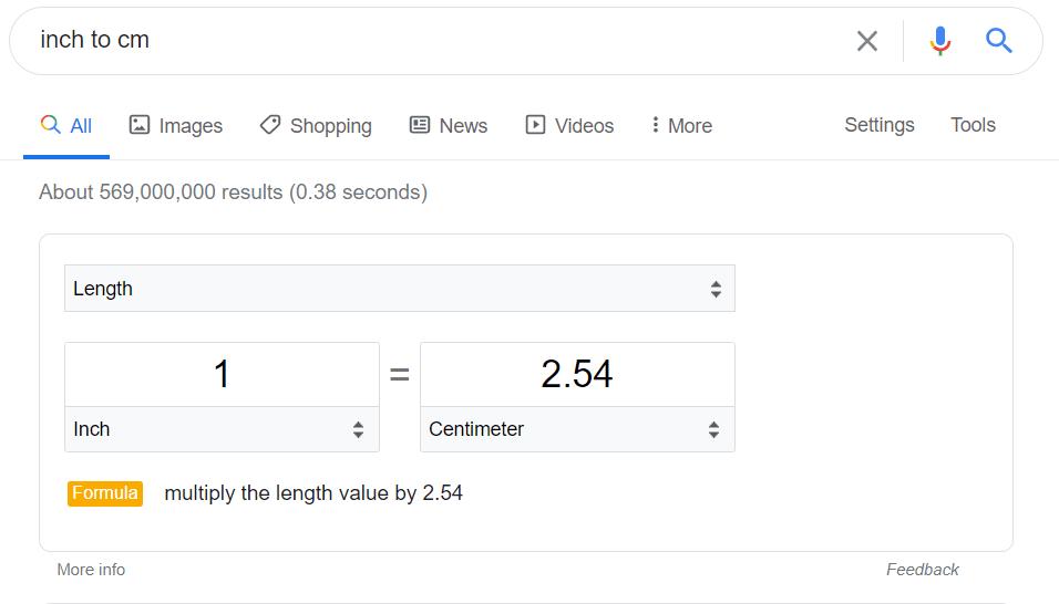 Trik Google Search untuk mengonversikan unit pengukuran