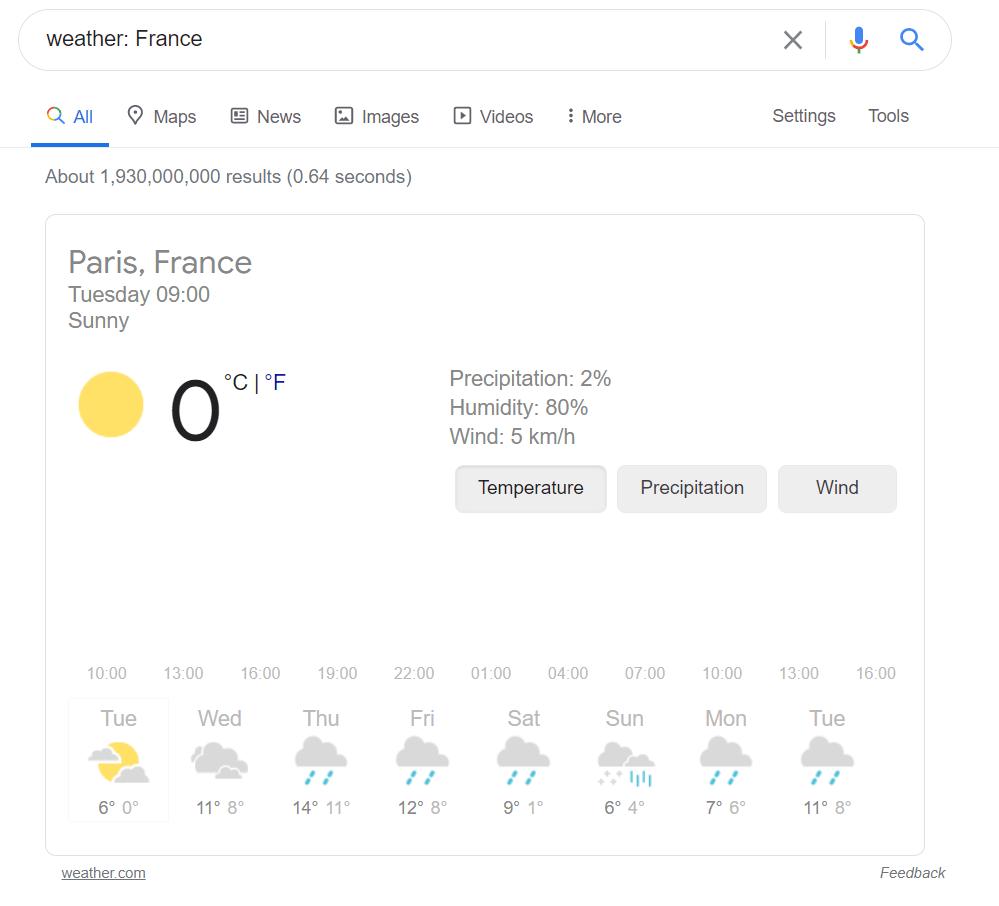 Menemukan ramalah cuaca dengan trik menggunakan Google Search