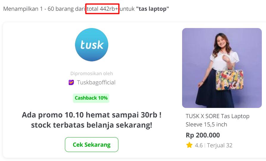 contoh jumlah produk pesaing di online marketplace