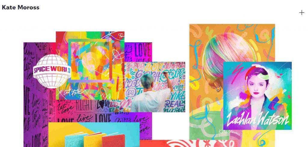 contoh layout portofolio desain colorful