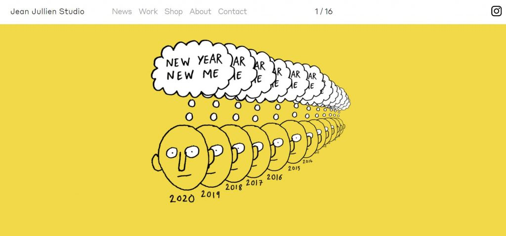 contoh portofolio desain slideshow pada homepage