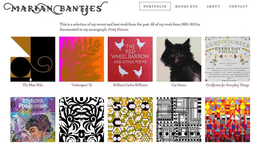 contoh layout katalog desain di web portofolio marian bantjes