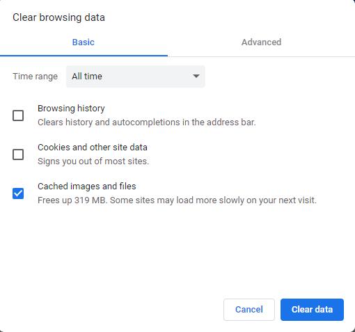 Hapus cache browser Anda