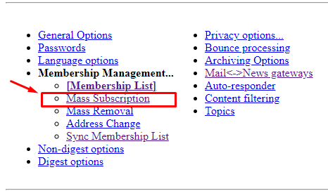 mass subscription mailing list