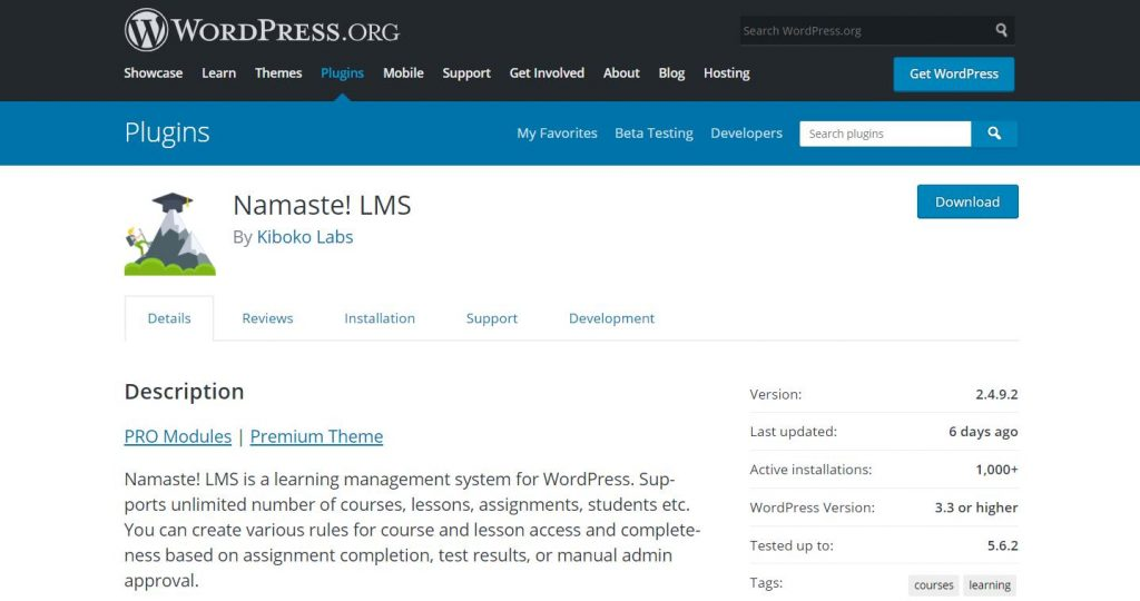 Namaste! LMS WordPress