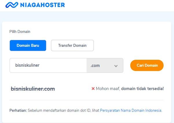 Domain .COM terbatas